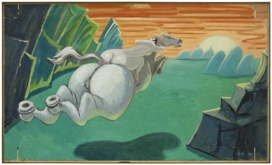 《革命之路-宝塔山》118.5x201.5cm纸本油画 2016