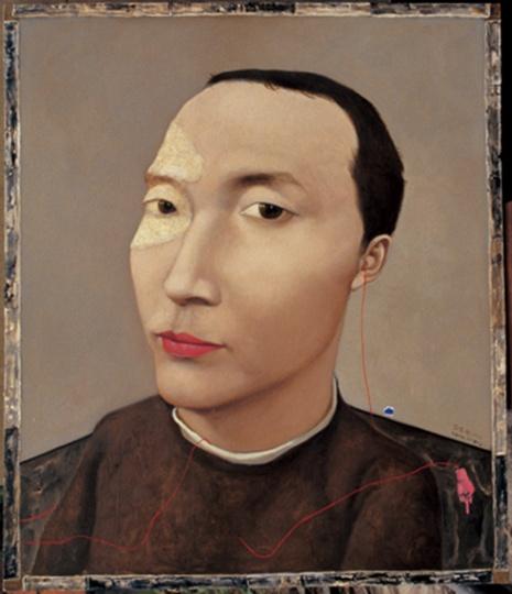 张晓刚 《血缘系列:陈为民》100.4×85cm 布面油画 1993  成交价:23,060,000HKD