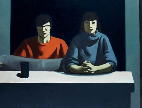 耿建翌 《灯光下的两个人》117×154.5cm 布面油画 1985  成交价:18,580,000HKD