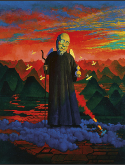 刘野 《齐白石肖像》111.5×86.2 亚克力画布 199  成交价:14,100,000HKD