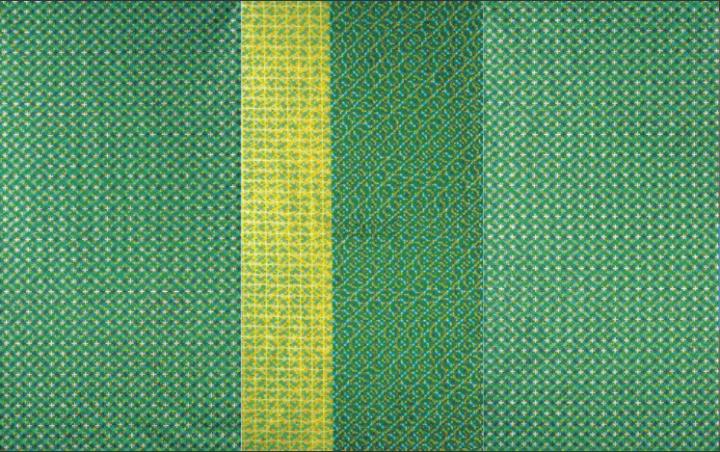 丁乙 《十示之2001.8》(三联作)258×138.5cm 布面亚克力 2001  成交价:5,420,000HKD