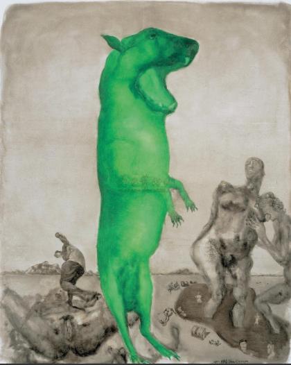 周春芽 《月下情人》250×201cm 布面油画 1997  成交价:9,775,000RMB
