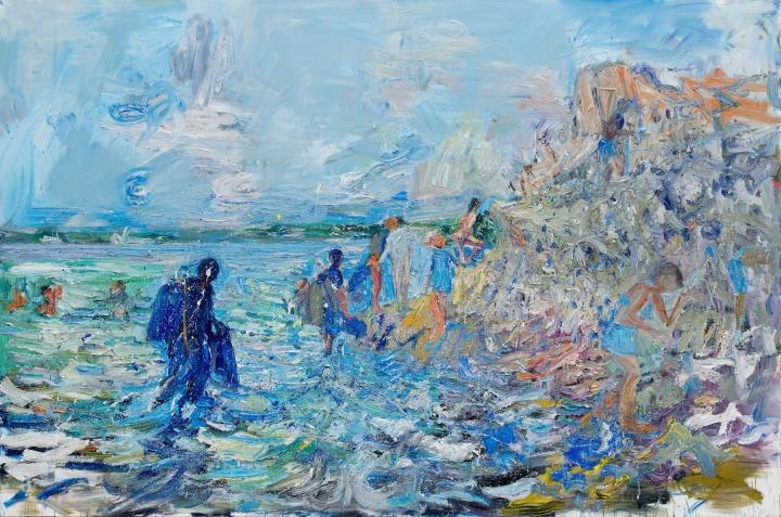 《潜水》270×400cm布面油画 2017
