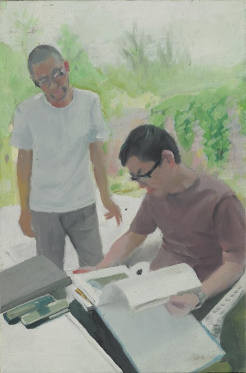 《两个艺术家》 30×20cm 布面油画 2008