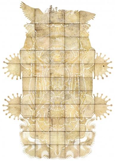 邬建安 《九重天》 40c×391×23.3cm 皮影装置, 手工镂刻牛皮