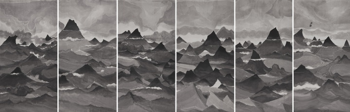 汤南南 《遗忘之海7》 76×145cm×6 纸本水墨 2013