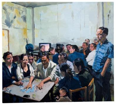 Lot 180刘小东《麻将馆》2012年作油彩画布90×100 cm  估价:HKD 1,500,000 - 2,500,000      《麻将馆》是刘小东绘画中典型的对现实情境的捕捉,这些人的精神状态和日常性的行为,是刘小东将绘画创作转变为集体记忆的桥梁,切中了人们对现实的回忆和微妙感受。这些人的动作与写实本身融合,却使刘小东的作品进一步超越了写实。