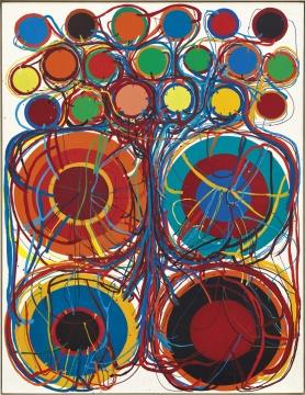 田中敦子 《作品》 145.5×113cm 合成树脂漆画布 1963  成交价:1270万港元,刷新艺术家个人纪录