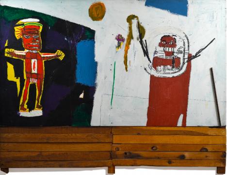 巴斯奎特 《致水神》 209.6×274cm 亚克力、油画棒、丝网印刷 1948  成交价:4228.75万港元