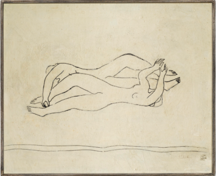 """常玉 《双裸女;盘踞裸女》 57×68cm 墨、油彩纤维板 1940年代(香港蘇富比)  流拍        国内当代艺术表现平淡      在国内当代艺术板块,则没有太大亮点,大多数作品都在估价范围内落槌,其中""""F4""""之一的张晓刚的《血缘:母与子1号》流拍。只有一位刷新个人纪录的中国艺术家,为近现代范畴内的萧勤。萧勤的《光之跃动》以250万港元成交。此前这位艺术家并不为人所熟知(萧勤上一次纪录是2015年台北羅芙奥60.6万元人民币)。"""
