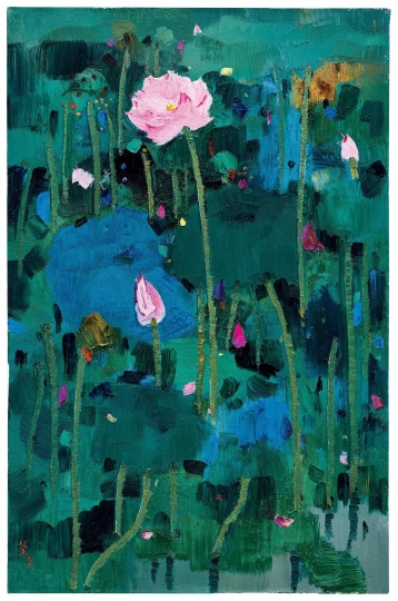 Lot134吴冠中《红莲》92.3 x 60.3cm油彩画布1996 估价:HKD 15,000,000 - 25,000,000