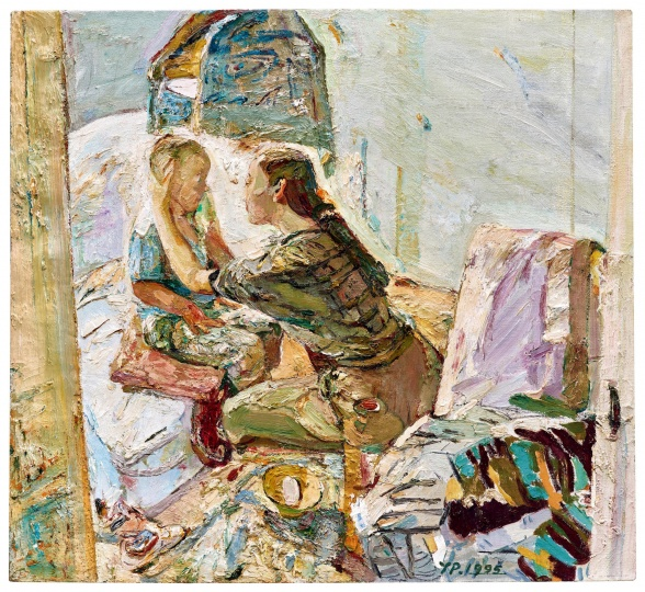 Lot111阎平《母与子 擦脸》110 x 120cm 油彩画布 1995 估价:HKD 200,000 - 400,000