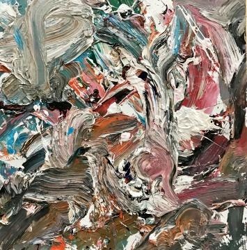 《抽象作品S49》100x100cm布面油画2017