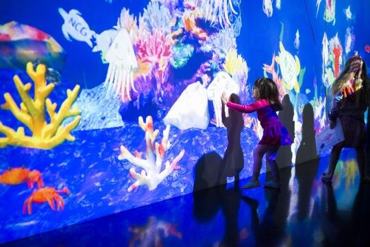 teamLab《彩绘水族馆》 互动数字装置 声音:高桥英明 teamLab2013