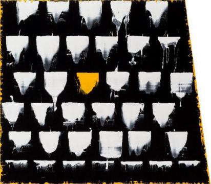 《李禹焕又出现在了巴塞尔1》 160×140cm 植绒布油漆 2017