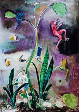 """顾福生 《迷魅之园》 178×127cm 油彩画布 1970  估价:HKD 420,000 - 600,000      作为70年代末于台湾涌现的新一批美术团体中的时代风格代表——""""底限风潮""""的领军人物,庄普用图章代替画笔,成为图示抽象绘画的先驱。其作品表现出绘画的物质性与自身的抽象思维,画面纯净、气质独特。本次呈现的《一块岩石》创作于1985年,系庄普难得一见的早期创作,并于同年庄普重要个展中展出,随即即被现藏家购藏,珍藏三十年有余后首次亮相,实为难能可贵的一件精彩佳作。"""