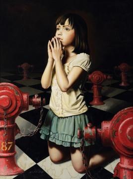 """七户优 《少女的祈祷》 130×97cm 油彩画布 2012  估价:HKD700,000 - 1,000,000      为什么选择陈荫罴的""""人物系列""""?      除抽象画外,独具一格的人物系列创作是陈荫罴艺术生涯中的重要组成部分,如本次春拍中的《金黄麦穗》、《心生》、《先知》三件作品,来自于画家定居洛杉矶期间在水晶大教堂聆听礼拜的经历,鲜为国内藏家了解。陈荫罴以《圣经》为蓝本,创作出约250件宗教人物作品,亲自挑选并赠与教堂收藏。比起抽象绘画的理性重复,这一系列的每件作品都饱含着艺术家对人生宏大命题的理解与哲思,体现出超然而独立的精神信仰。"""