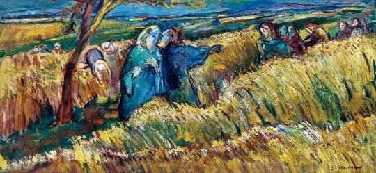 陈荫罴 《金黄麦穗》40×85cm 油彩纤维板 1950-1960年代  估价:HKD180,000 - 280,000