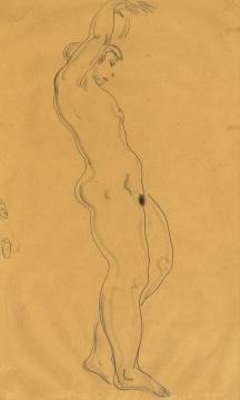常玉《舞中裸女》 47.5×28 cm碳笔水墨纸本  估价:HKD 120,000 -180,000      另一件则为常玉深受贾科梅蒂影响时期,创作的瘦长人物造型作品《卷发裸女》; 正面的身体特写,修长的上肢垂立,下垂的乳房带有几分夸张的戏谑效果,令人玩味。