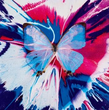 达明安·赫斯特《鼓舞》15.2×15.2cm蝴蝶、油漆画布 2008  估价:HKD 450,000 - 550,000
