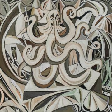 生气的章鱼,120X120cm,布面油画,2014