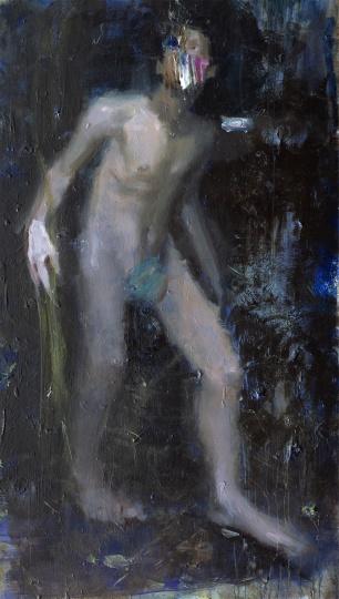 韋嘉,《狼牙色的光》, 2015, 丙烯畫布, 185x107cm