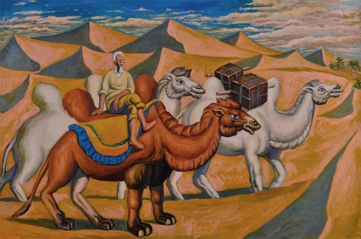 驼队2,布面油画,180×270cm,2016