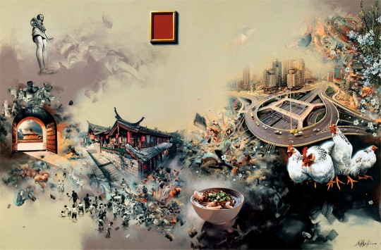 钟飙 《一切早已存在,只有经过时显形》 400×1200cm 布面丙稀 2012(局部) 中国美术馆藏