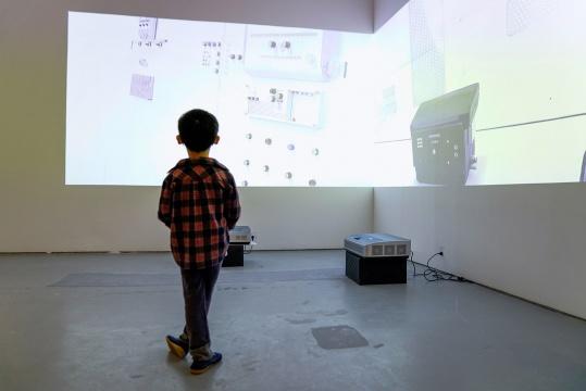 一个小男孩在阿彼察邦·韦拉斯哈古的作品《信念》之前。  对于一个稚子,社会情绪&主观体验对他又是否具有实际意义?