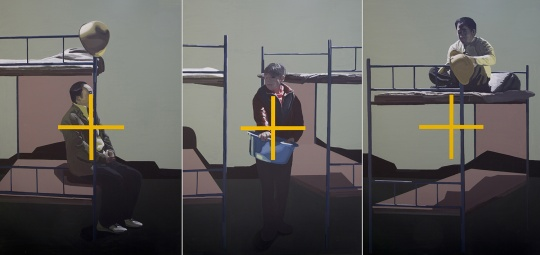 汪建伟 《表面的肖像 IV》200 × 420 cm × 3 布面丙烯、油画2014