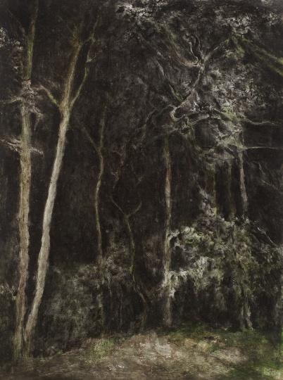 《夜景》70×53cm 纸板丙烯 2001