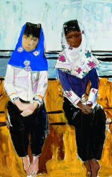 戴士和 《惠安女》局部90x180cm布面油画 2010