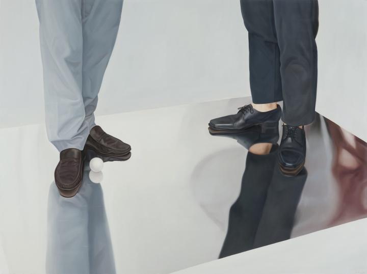 梁浩《两代人的游戏》150×200cm布面油画2016