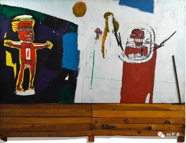 巴斯奎特 《致水神》 209.6×274cm 亚克力、油画棒、丝网印刷 1948  成交价:4228.75万港元 香港苏富比2017春拍