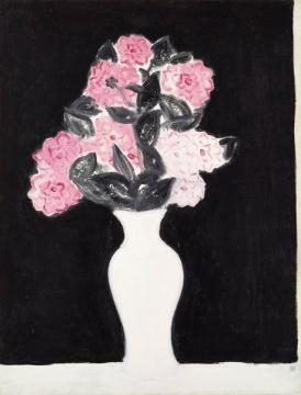 常玉 《白瓶花卉》 115×88cm 油彩 画布 1930  成交价:7446亿港元(估价:4500万-5500万港元)