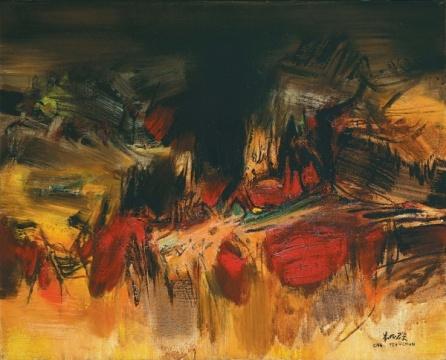 朱德群 《第一百六十七号》 65.2×81cm 油彩 画布 1964  成交价:786万港元(估价:700万-1000万港元)