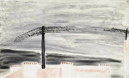 常玉 《电线上的麻雀》 50×80cm 油彩 画布 1930  成交价:2022万港元(估价:1800万-2800万港元)