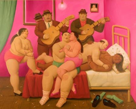 费尔南多·博特罗 《终曲》 167×208.2cm 油画画布 2009  成交价:584万港元(估价:460万-620万港元)      正在北京的林冠艺术基金会举办个展的、英国在世最贵的艺术家彼得·多伊格的《鸟屋》以536万港元成交,为当晚TOP 5。