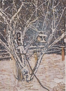 彼得·多伊格 《鸟屋》 48×35cm 油画木板 1996  成交价:536万港元(估价:200万-300万港元)      另外,正在上海余德耀美术馆举办展览的美国艺术家KAWS,其作品《坐着的同伴》以320万港元成交,为当晚的TOP 9,该件作品也打破了KAWS的雕塑拍卖纪录。