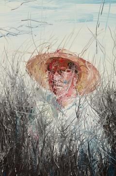 曾梵志 《戴草帽的人》 239.9×162cm 油画画布 2004  成交价:512万港元(估价:500万-700万港元)