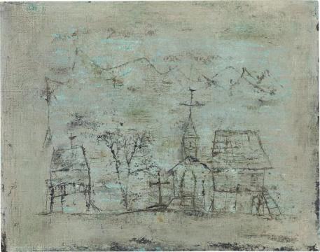 赵无极 《09.08.50》 33×41.3cm 油画画布 1950  成交价:224万港元(估价:180万-280万港元)