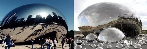 """左图为芝加哥千禧公园里雕塑""""云门"""",右图为新疆克拉玛依油田胖的艺术装置""""大油泡"""""""