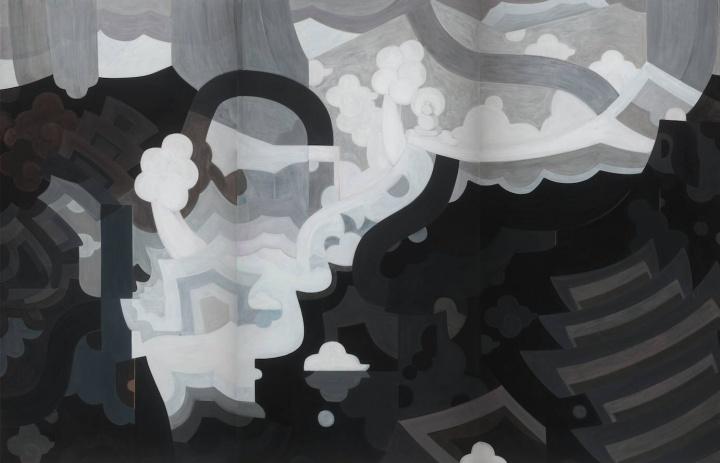 王鉴为 《天一生水》 205x310cm 纸本水墨、丙烯、 铅笔 2017