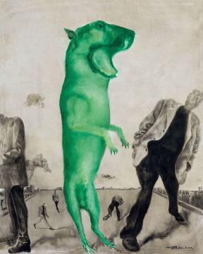 """周春芽 《绿色的黑根—名牌时装》 249×199cm布面油画 1997  估价:650万-750万元      李苏桥:《绿色的黑根—名牌时装》是周春芽第一批五张""""绿狗""""作品之一,这应该是艺术家绿狗系列最早的作品,五件之一的另一件作品前几年在保利拍卖尤伦斯专场中,已经卖到了900万以上的价格,而这件作品起拍价只有650万元,应该说是针对今天艺术市场平稳时期的打折价,我个人觉得周春芽作为中国当代艺术介入最早、创造力旺盛、艺术语言独特、个性鲜明的艺术家,是中国当代艺术收藏系统中不可或缺的一部分,而这件作品本身里程碑式的历史背景而使它具有重要的收藏价值。    伍劲:这件""""绿狗""""是同系列作品中最大尺幅的少数几件作品之一,几年前同系列作品曾创造过艺术家个人拍卖纪录。如今""""绿狗""""再现拍场,对于周春芽的藏家来说,是一个很好的购买机会了。"""