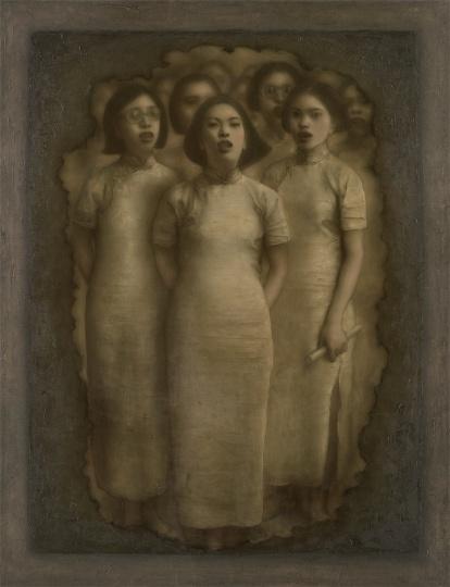 庞茂琨 《穿越时间的呐喊》 150×115cm 布面油画 1999