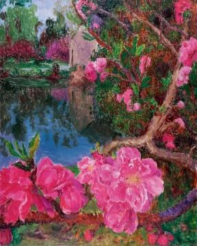"""周春芽 《湖边》 250×200cm 布面油画 2015  估价:550万-800万元      谢晓冬:周春芽是中国当代艺术最重要的领军人物之一。他的绘画以直接干脆的表现力量取胜,既呼应传统,又唤醒我们熟知的日常生活。这件《湖边》描绘湖水周边盛开的绚烂的桃花,艳勃浑厚,散发着生命的激情,是艺术家桃花系列的佳作,许多收藏中国书画的藏家也喜欢周春芽的作品,正是感受到其画作中连接中国绘画传统与当代的力量。    林松:这算是周春芽的近期作品,周春芽在以往""""桃花""""的基础上大胆运用了中国传统写意的表达方式。色彩强烈、情绪饱满,非常漂亮,奔放有力。值得市场青睐、藏家关注。      推荐作品五:王音《花》——市场所见王音最大尺幅的花系列作品,值得关注"""