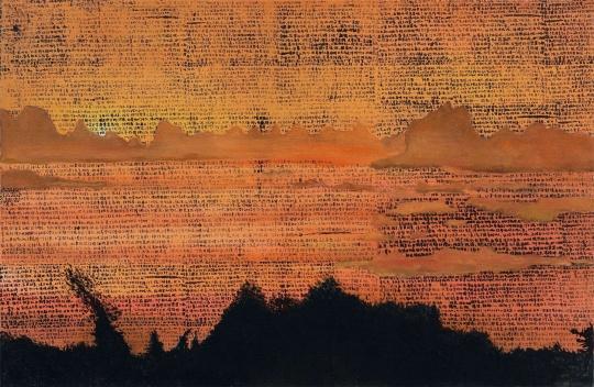 """段建宇 《早上好11》 110×170cm 布面油画、丝网印刷  估价:65万-85万元      黄予:段建宇和郝量一样,是当今艺术界炙手可热的当代艺术家,绘画性之外,段建宇之于绘画的观念是非常值得关注的。""""早上好""""这个系列是她从2005年开始创作的,这件作品是这一系列之十一件,属于其文本性绘画探索之佳作。      体物/状物 —— 现当代纸上作品专场"""