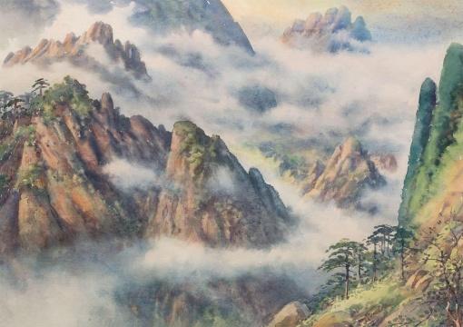 潘思同 《云海黄昏》 38×53.5cm 纸本水彩 1965  估价:4万-5万元      伍劲:潘思同代表了中国早期水彩画的最高水准,这个系列的作品在去年鸿盛拍卖中也吸引到我的注意,我也购买过相关作品。      踏浪彼岸 —— 中国二十世纪现代艺术专场