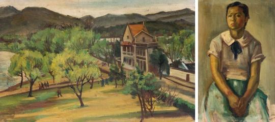 倪贻德《女孩肖像与苏堤茶室》45.5×70.5cm布面油画1950  估价:55万-65万元      伍劲:这件倪贻德的双面画,50年代的作品属于偏早期的风格。倪贻德是决澜社的代表性画家,存世作品不多,在市场上流通的更少。这件作品一下就吸引了我。      推荐作品十三:符罗飞《瓜果》——此人不凡,但其作品全部面貌并不得见