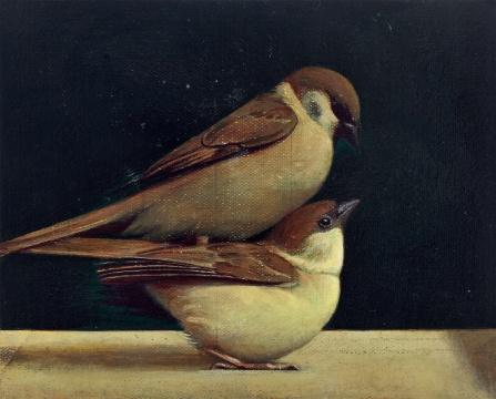 刘野 《鸟上鸟》 22×28cm 布面油画 2011  成交价:287.5万元(估价:160万-180万元,北京匡时,王兵购得)